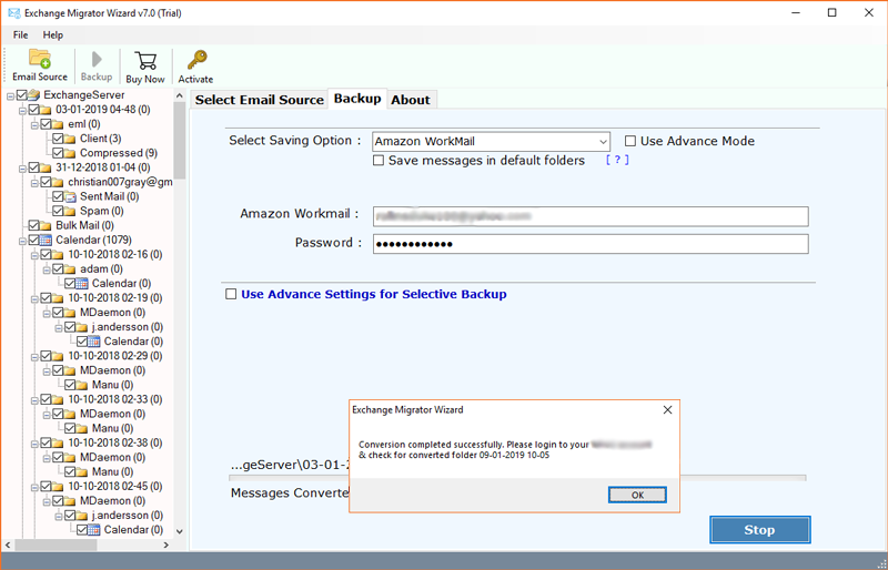 Migrate Exchange to Amazon WorkMail Cloud Account Directly
