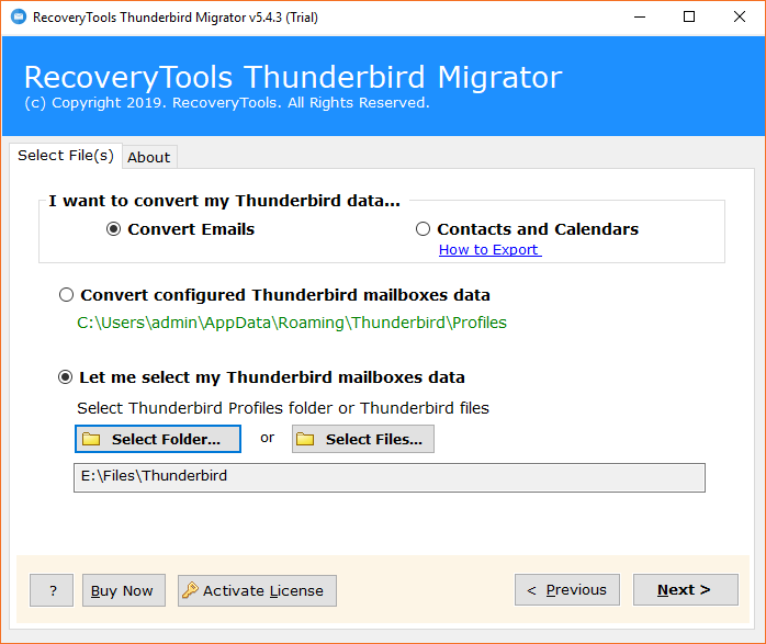 Migrate Thunderbird to Thunderbird Profile with Emails