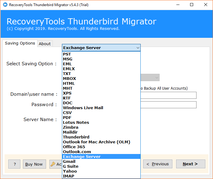 Export Thunderbird to Exchange Server 2019, 2016, 2013 with Email Items