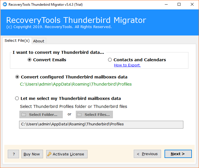 Export Thunderbird to Exchange Server 2019, 2016, 2013 with
